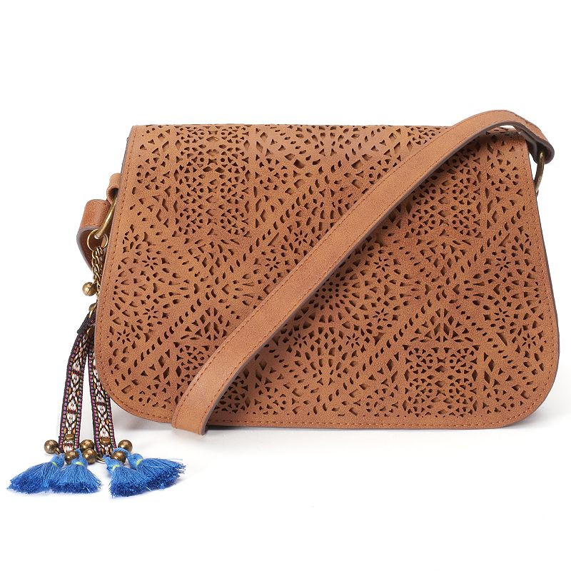 T-Shirt & Jeans Laser-Cut Tassel Crossbody Bag, Women's, Red\/Coppr (Rust\/Coppr)