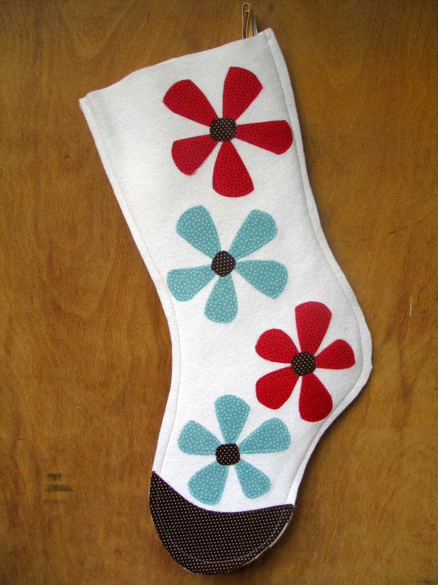 Winter Daisy Stocking, White Wool Felt