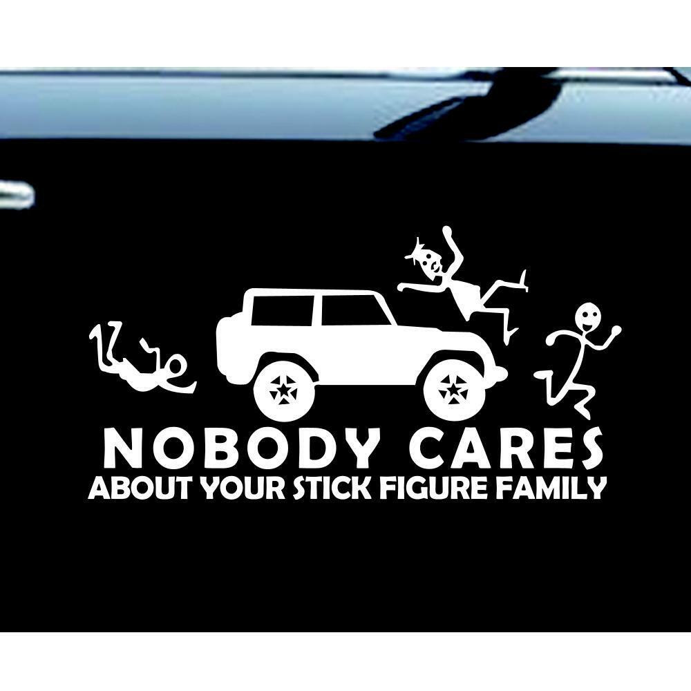 Stick Figure Jeep Family Nobody Cares car truck funny