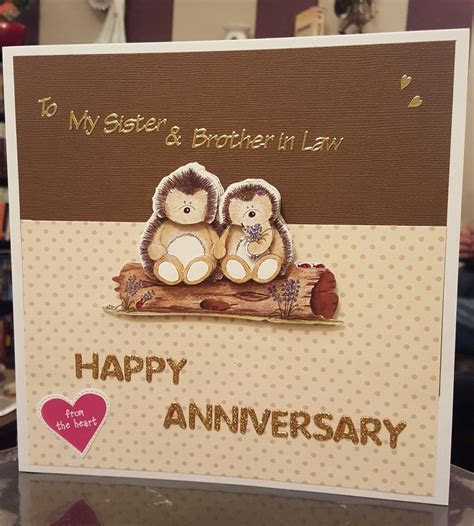 Hedgehog Wedding Anniversary Card / Sister & Brother in