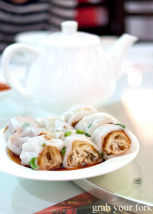 Ja leung rice noodle rolls with dough fritter yum cha dim sum east ocean chinatown haymarket