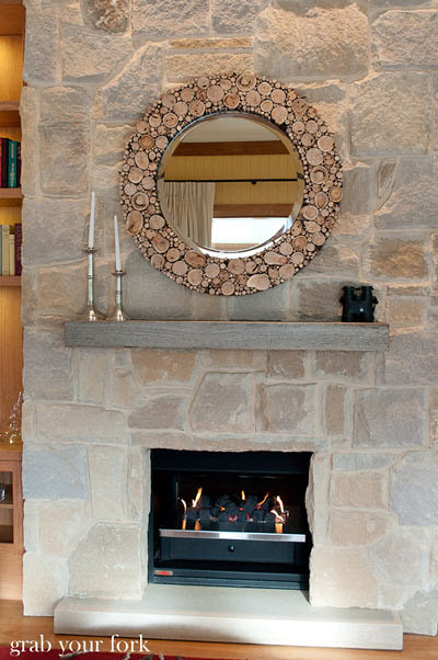 wolgan valley living room fireplace