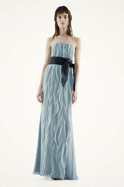 White by Vera Wang   MORE COLORS Strapless Crinkle Chiffon