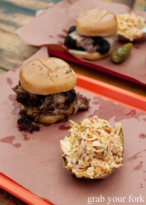 chopped brisket sandwich with slaw at la barbecue austin texas