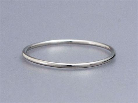 Thin Platinum Wedding Band   1mm Round Stacking Ring