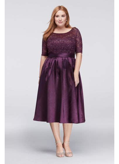 Lace and Satin Elbow Sleeve Plus Size Ball Gown   David's
