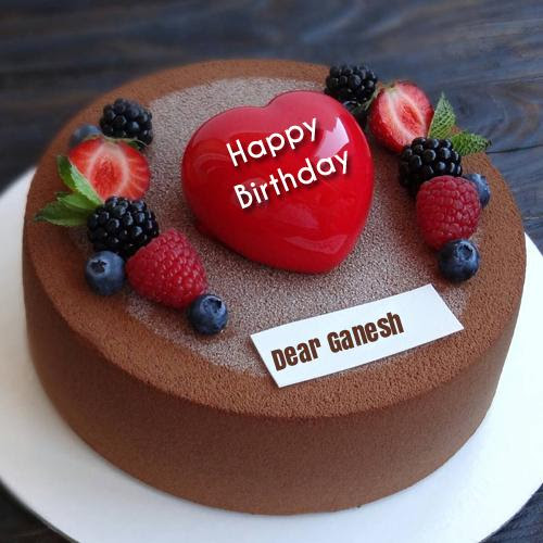 Name Birthday Chocolate Cake Pics With Fruit Decoration