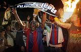 Barcelona Supporters celebrating Teams' victory against Real Madrid