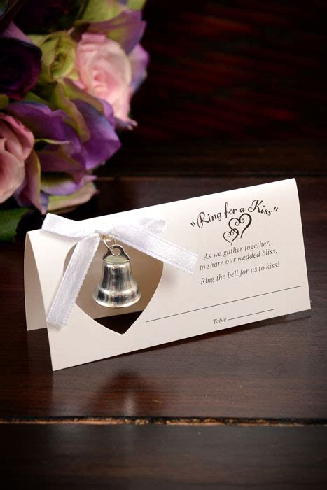 RING FOR A KISS PLACE CARD W/BELL WHITE PKG/24