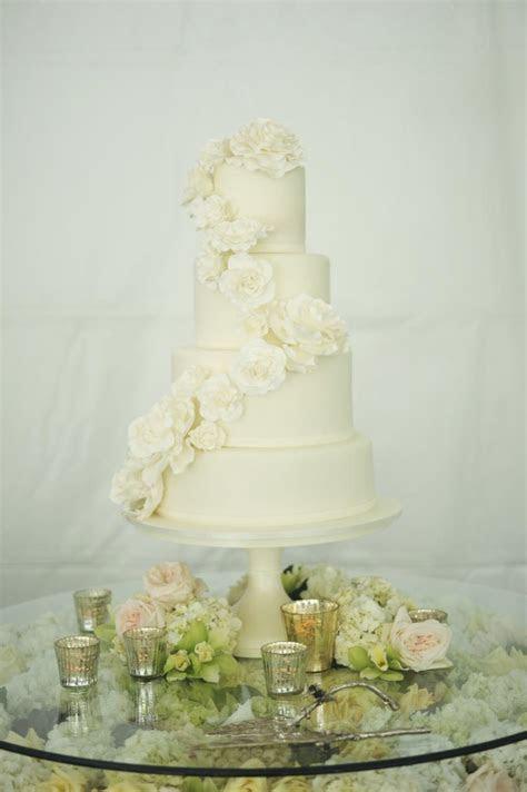 Classic Wedding Cake With Cascading Flowers   Elizabeth