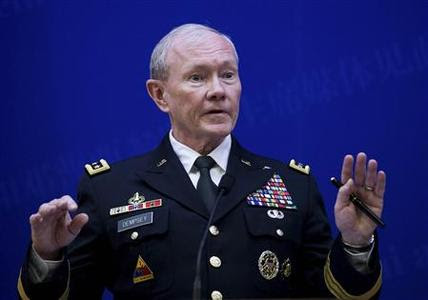 U.S. Joint Chiefs Chairman General Martin Dempsey speaks during a press briefing with Chief of the general staff of China's People's Liberation Army Fang Fenghui (not pictured) at the Bayi Building in Beijing April 22, 2013. REUTERS-Andy Wong-Pool
