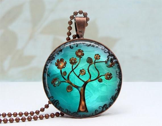 Copper Tree Necklace - Glass Dome Pendant Vintage Copper, Picture Pendant, Photo Pendant, Art Pendant by Lizabettas