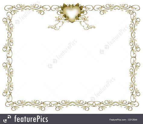 Templates: Wedding Invitation Gold Border Angels   Stock