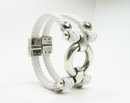 White leather double wrap bracelet with chrome