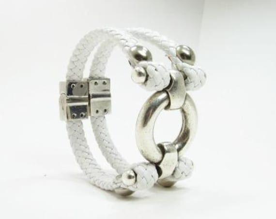 White leather double wrap bracelet with chrome
