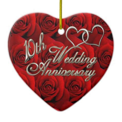 Red Roses 10th Wedding Anniversary Ornament   Zazzle