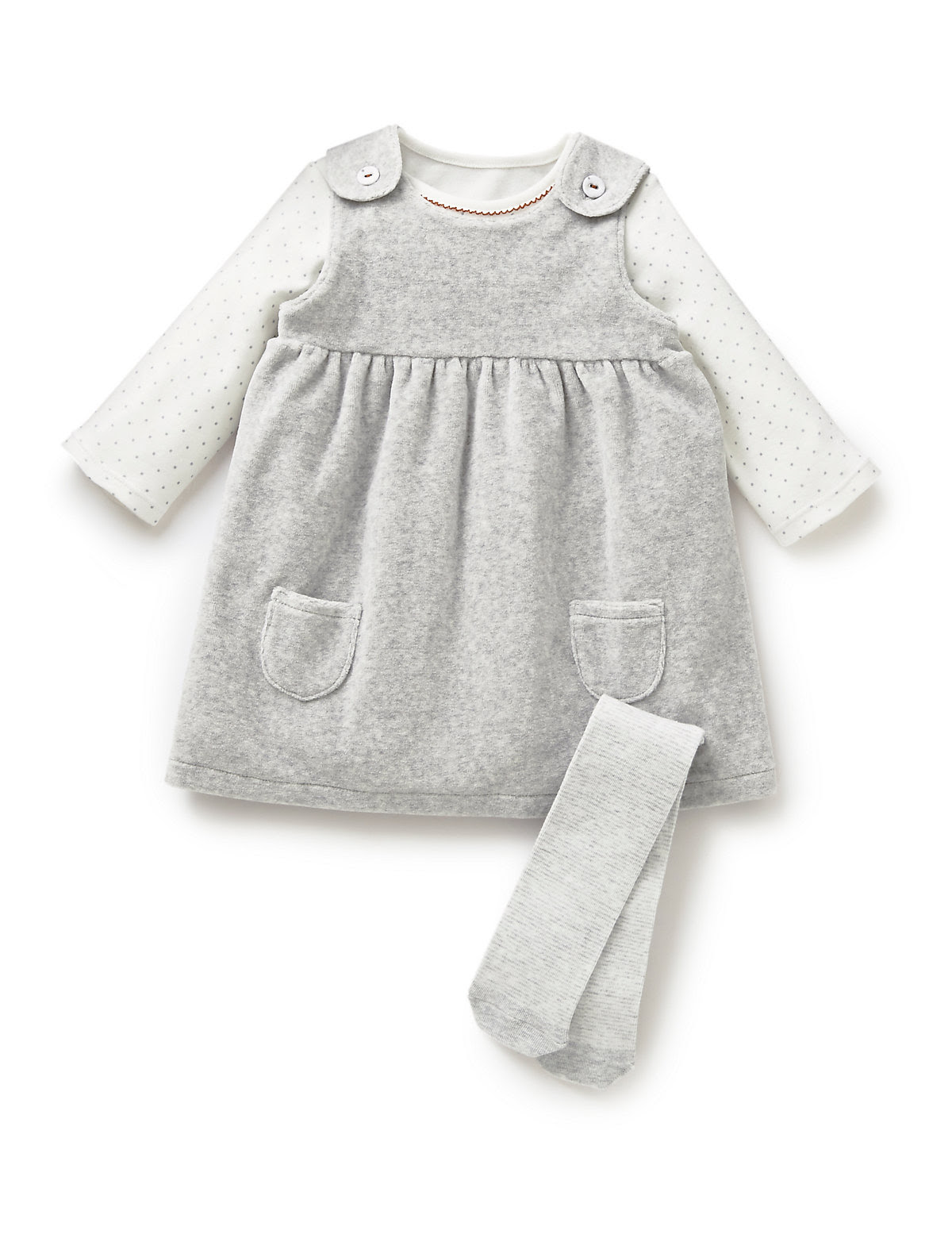 3 Piece Cotton Rich Velour Dress, Bodysuit & Tights Outfit