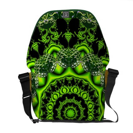 Spider Dance, Abstract Green Gray Web Messenger Bag