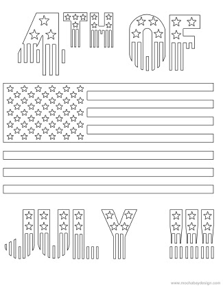 printable 4th of july holiday coloring page of stars and stripes flag  mochabaydesign