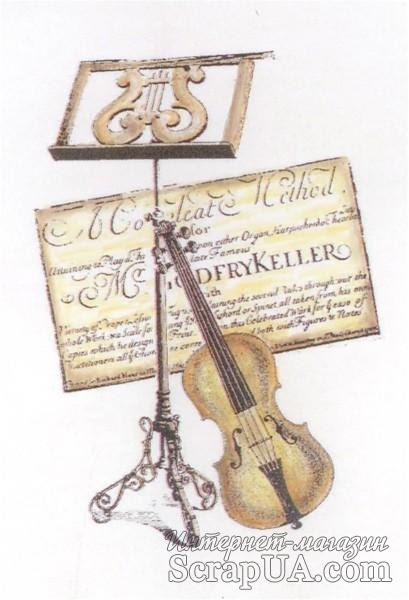 Акриловый штамп La Blanche - Violin Collage Stamp - ScrapUA.com