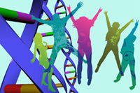 Photo: Colorful silhouette of people and DNA strands