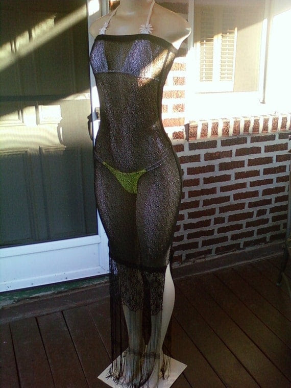 Gorgeous Long Black Net w/ Beautiful Fringe Swimsuit Cover Up Size X-Small-Small (Free Shipping)