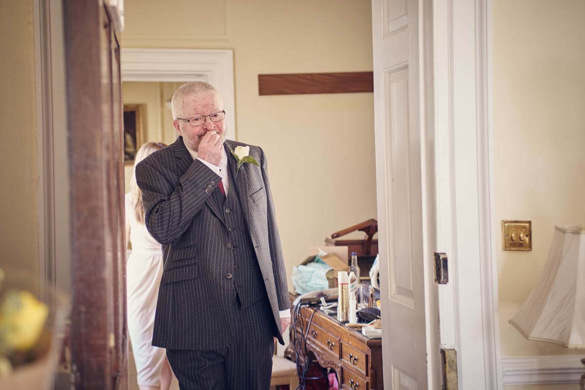 Father of the Bride's reaction at seeing bride at Hintlesham Hall - www.helloromance.co.uk