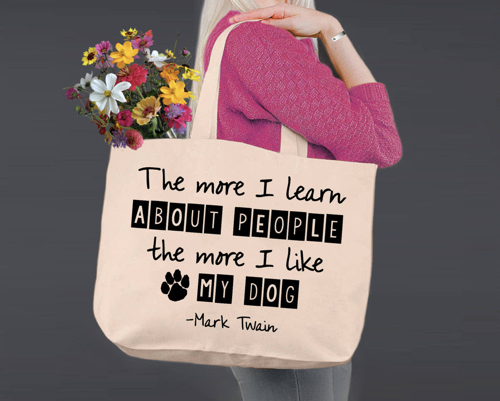 The More I Like My Dog Mark Twain Canvas Tote Bag Korena Loves