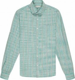 Reiss Chevy Long Sleeve Linen Check Shirt Forest Green