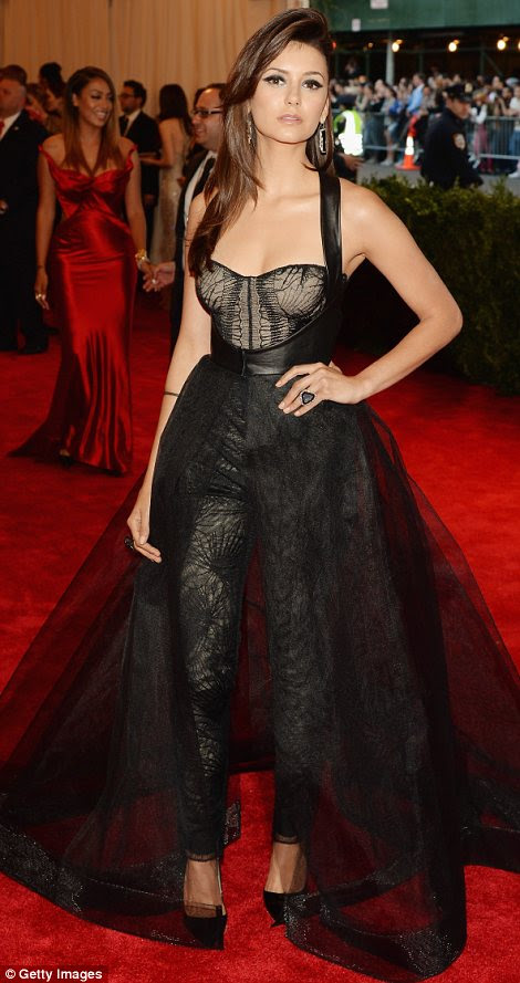 Brunette bombshells: Girls actress Allison Williams (L), and Vampire Diaries star Nina Dobrev were sheer delights in black lacy numbers, by Altuzarra and Monique Lhullier respectively