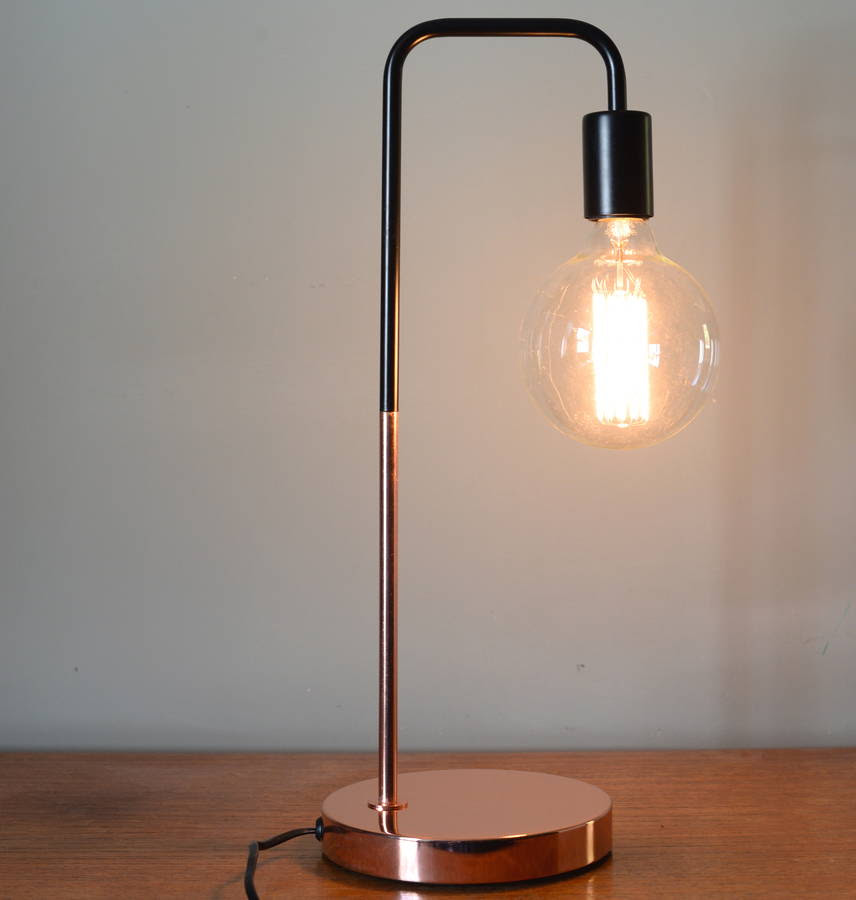 original_black and copper desk lamp