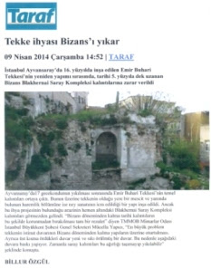 Τουρκικό δημοσίευμα μουσουλμανικος τεκες