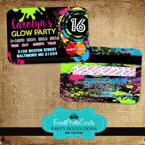 Glow Party Sweet 16   Credit Card Style Invitations, Neon