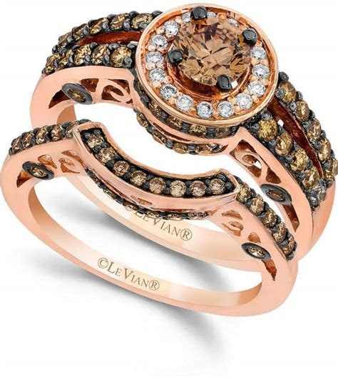 Le Vian Chocolate And White Diamond Engagement Band Set In