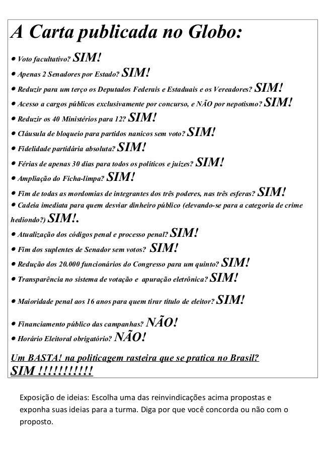 A carta publicada no globo politicas
