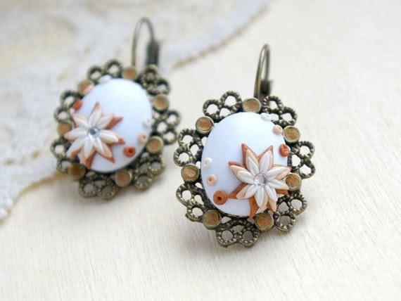 Flower Earrings Vintage - Pastel Colors Earrings - Bridesmaids Earrings, серьги, сережки