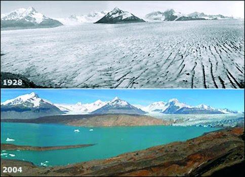 Derretimiento de los glaciares, foto antes (1928) y depues (2004)