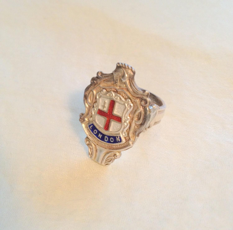 London Sterling Silver Souvenir Spoon Ring