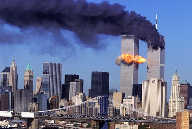 The second hit: The moment Hijacked United Airlines Flight 175, which departed from Boston en route for Los Angeles, crashes into the South Tower of the World Trade Centre