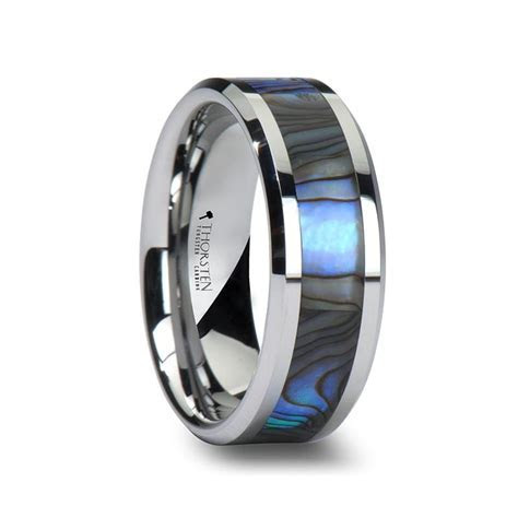 PACIFIC Men's Tungsten Wedding Band with Mother of Pearl