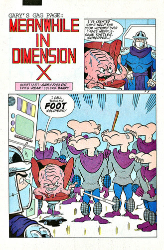 """Gary's Gag Page : """"MEANWHILE IN DIMENSION X"""" from """"TMNT Adventures"""" #45.. by Gary Fields (( 1993 ))"""