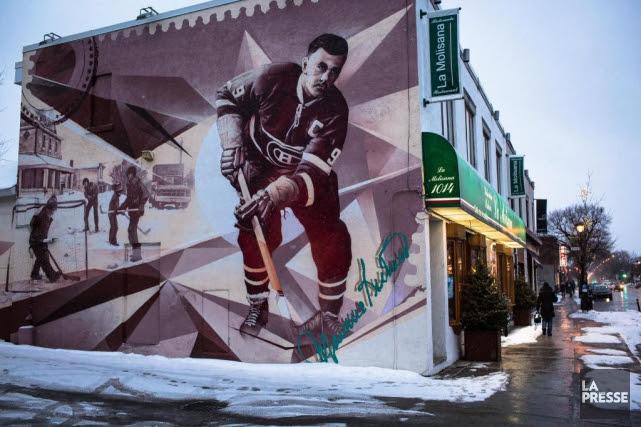 Une murale en l'honneur de Maurice Richard, sur... (PHOTO OLIVIER PONTBRIAND, LA PRESSE)