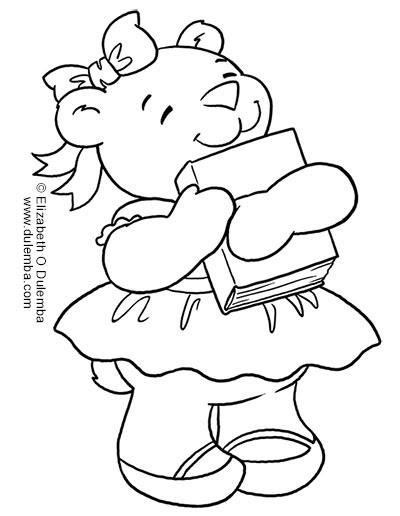 dulemba: Coloring Page Tuesday Book Loving Bear