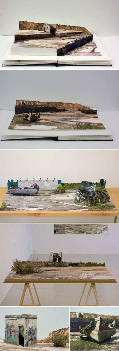 Pop-Up Books, Photo collage, desolate landscapes, skateboard industrial landscapes, VoltaNY