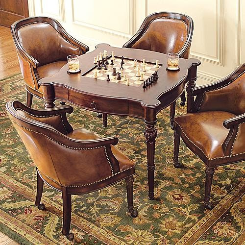 Freeman Game Table and Four Leather Chairs - traditional - home