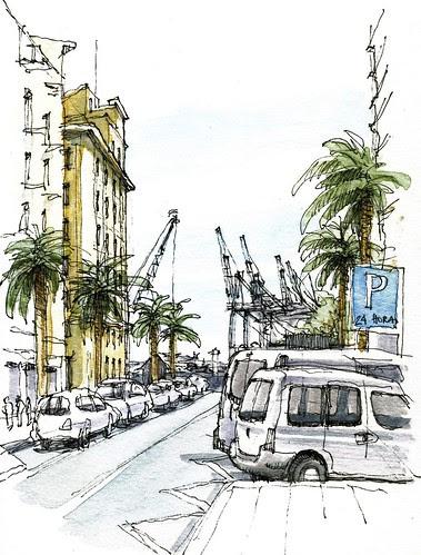 Málaga, port cranes