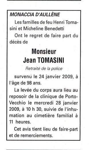 Décès Tomasini Jean