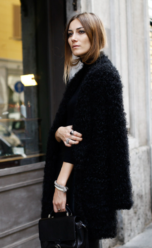 LE FASHION BLOG ITALIAN STREET STYLE GIORGIA TORDINI BY TAMU MCPHERSON FOR GRAZIA MOHAIR HM SWEATER LEATHER JOGGER PANTS GIVENCHY PATENT CROC CLUTCH MONGOLIAN FUR COAT RINGS WRAP SILVER BRACELET SMALL SHOULDER CROSS OVER BAG LONG HAIR BEAUTY
