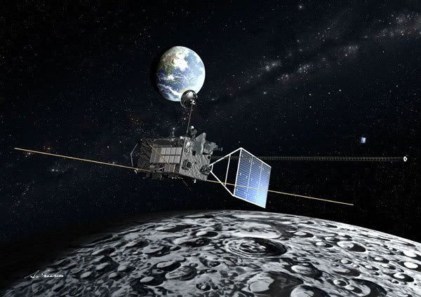 An artist's concept of the Kaguya spacecraft in lunar orbit.