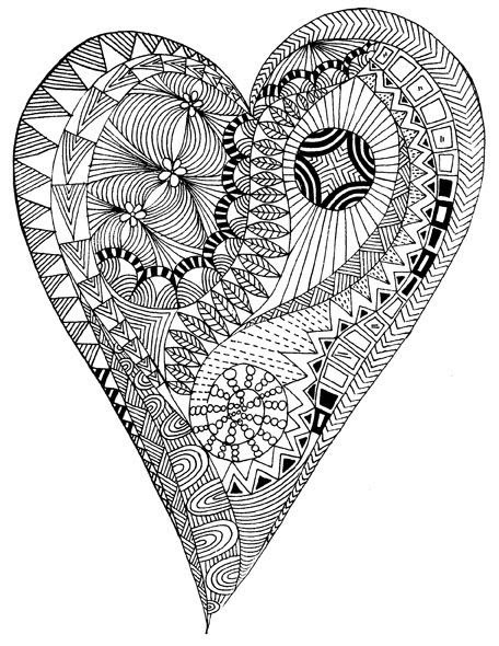 Heart Zen Anti Stress To Print Anti Stress Adult Coloring Pages